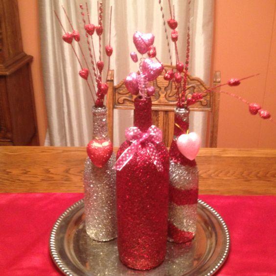 Glitter Bottle Vases