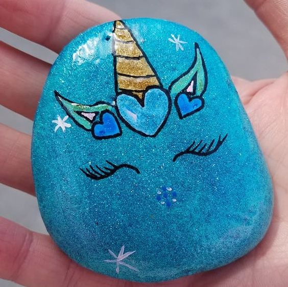 Teal heart unicorn painted rock
