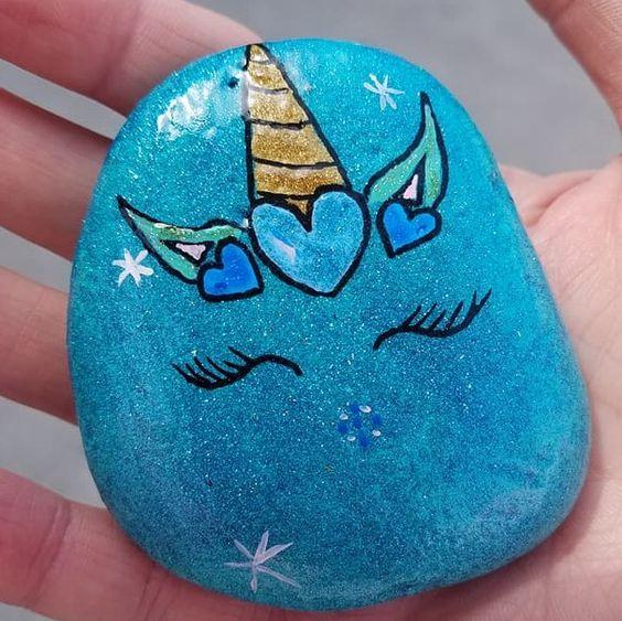 Teal heart unicorn painted rock