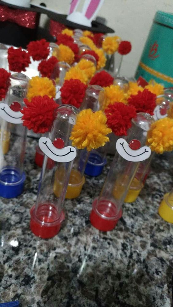 Circus Birthday Party Ideas Kids- Clown Favor Tubes
