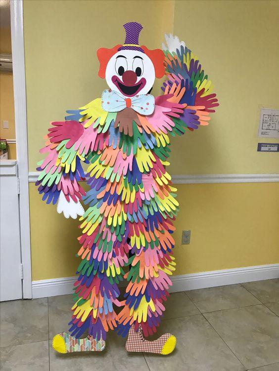Circus Birthday Party Ideas Kids - Hand Print Clown
