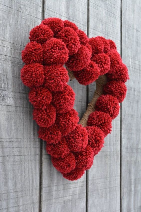 Get ready for Cupid's favorite day with these awesome Valentines Decorating Ideas - Pom Pom Wreaths #Valentines
