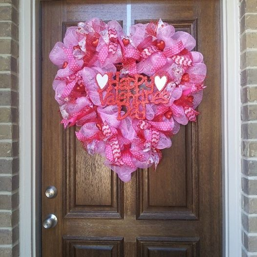 Valentine's heart shaped deco mesh wreath