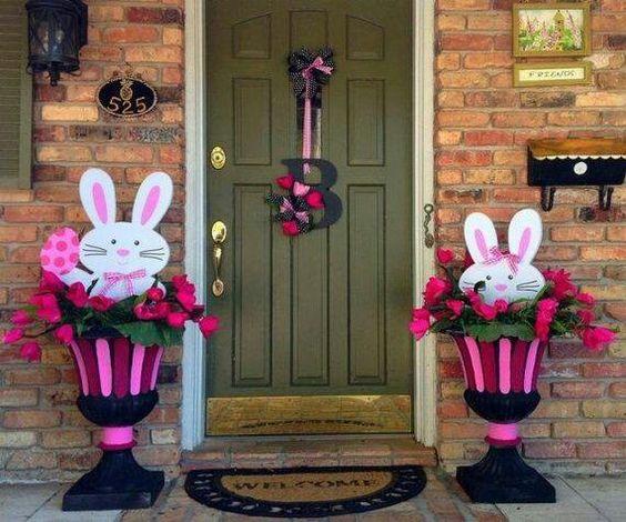 Easter Porch Decor - Bunny Planters