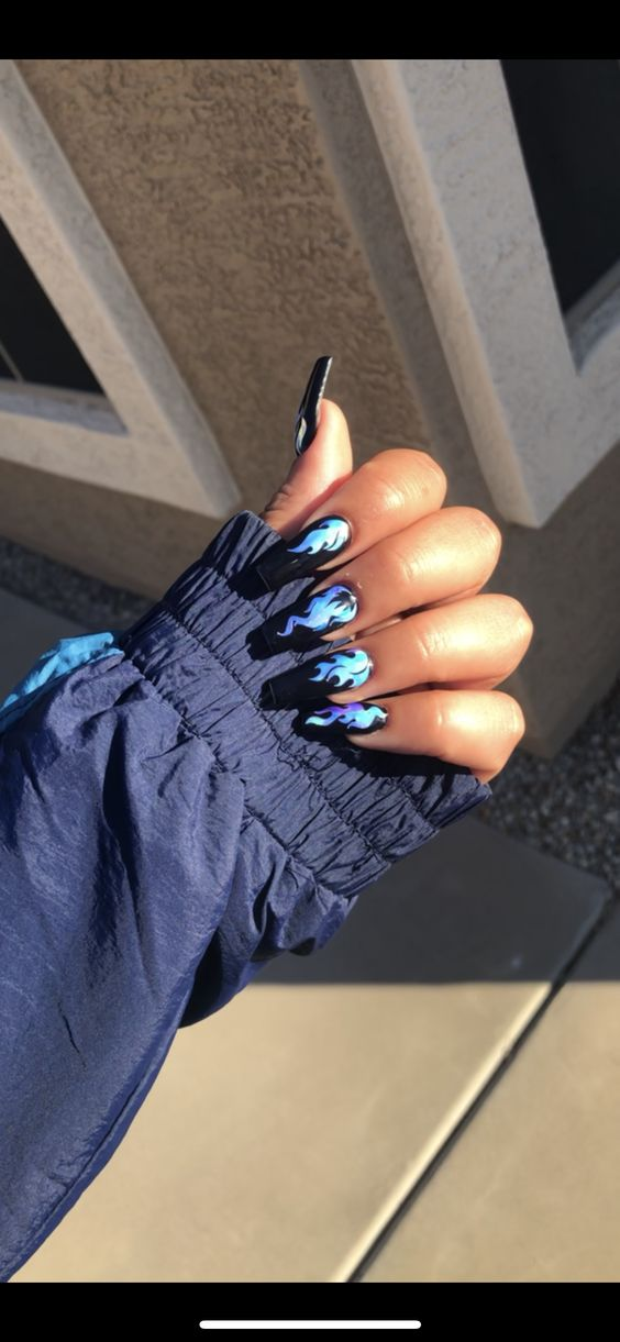 Flame Coffin Nails #nailsofinstagram