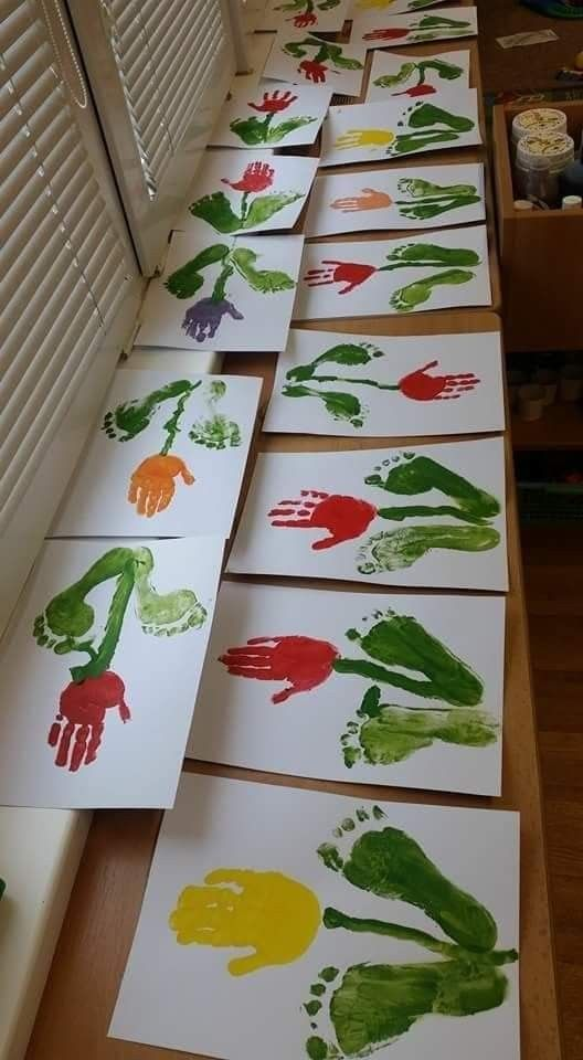 Hand Print Spring Crafts for Kids