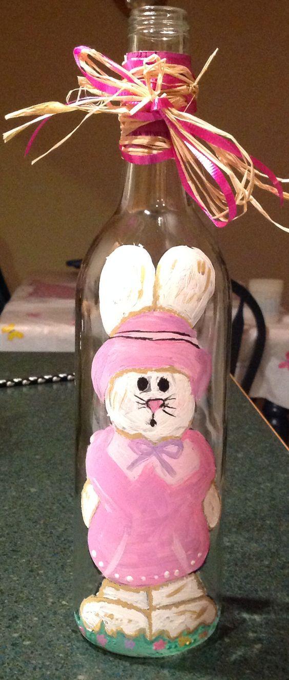 Learn how to Make Easter Wine Bottle Crafts #easter #eastercrafts #spring