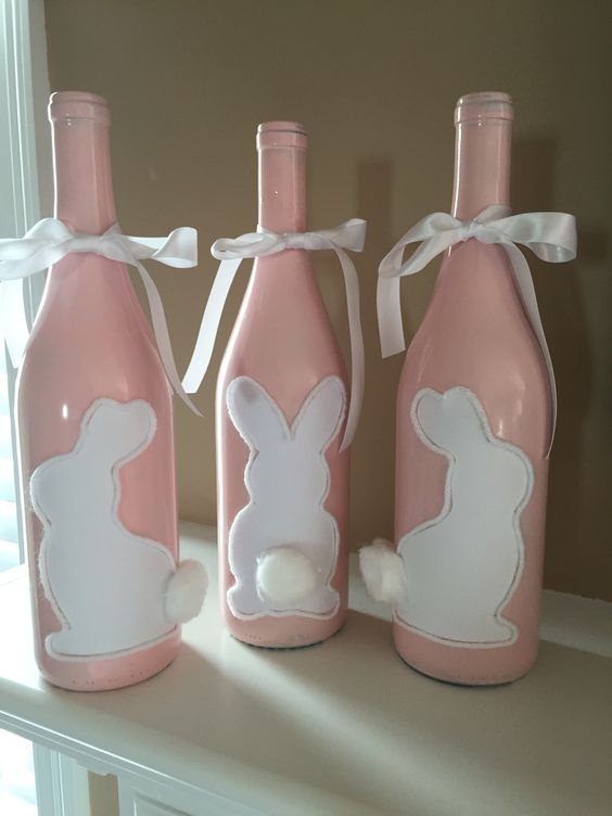 Learn how to Make Easter Wine Bottle Crafts #easter #eastercrafts #spring